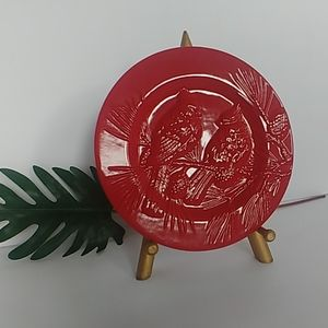 Red Cardinal Christmas Decorative Plate